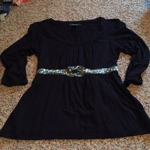 Black Petite Top Gold Bling M
